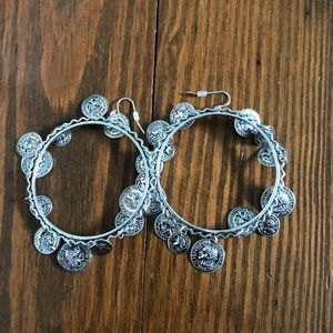 Silver coin hoops